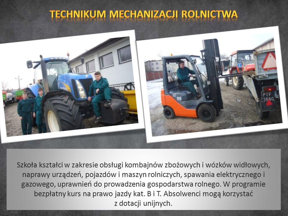 Szkoła kształci w zakresie obsługi kombajnów zbożowych i wózków widłowych, naprawy urządzeń, pojazdów i maszyn rolniczych, spawania elektrycznego i ga