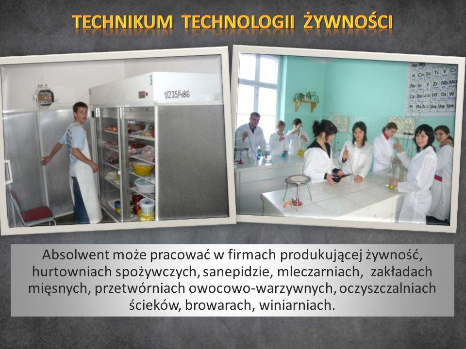 Absolwent może pracować w firmach produkującej żywność, hurtowniach spożywczych, sanepidzie, mleczarniach, zakładach mięsnych, przetwórniach owocowo-w