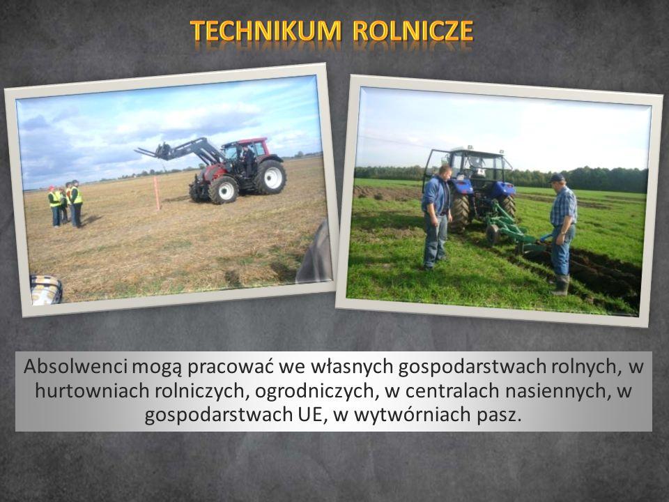 Absolwenci mogą pracować we własnych gospodarstwach rolnych, w hurtowniach rolniczych, ogrodniczych, w centralach nasiennych, w gospodarstwach UE, w wytwórniach pasz.