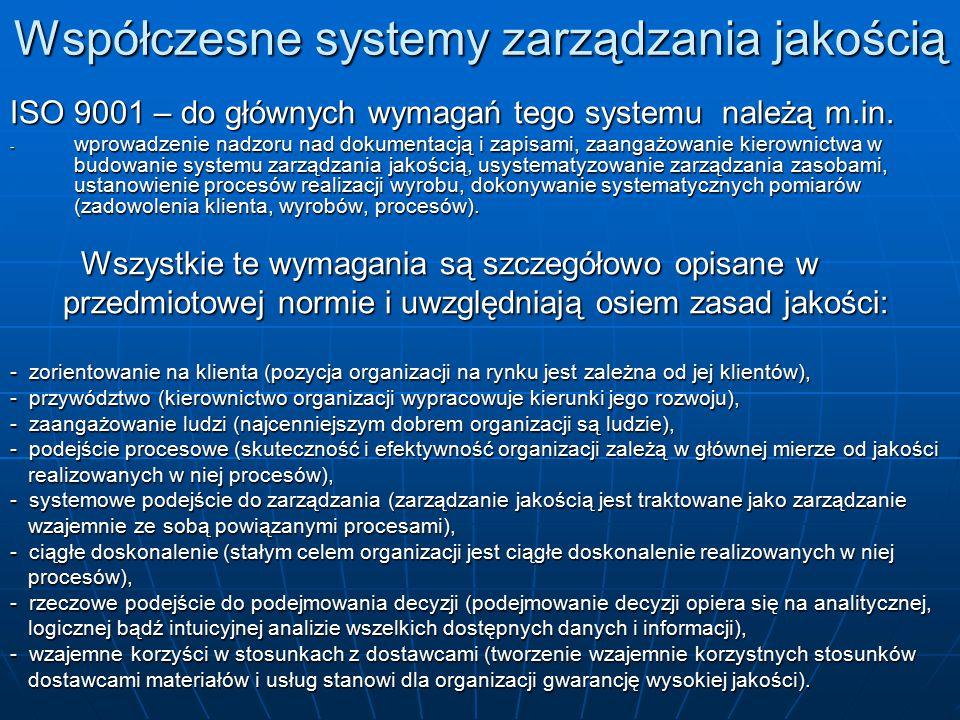 Współczesne systemy zarządzania jakością ISO 9001 – do głównych wymagań tego systemu należą m.in. - wprowadzenie nadzoru nad dokumentacją i zapisami,