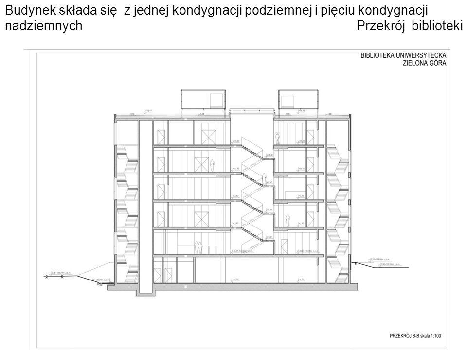 Budynek składa się z jednej kondygnacji podziemnej i pięciu kondygnacji nadziemnych Przekrój biblioteki