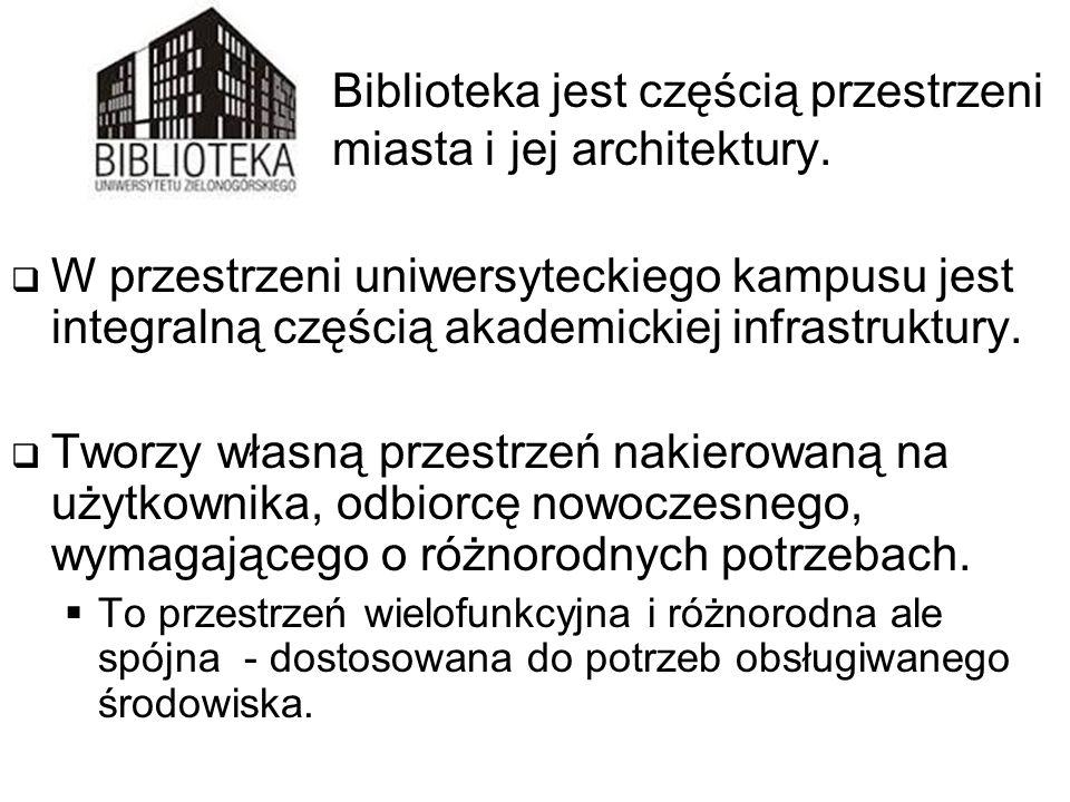Biblioteka jest częścią przestrzeni miasta i jej architektury.  W przestrzeni uniwersyteckiego kampusu jest integralną częścią akademickiej infrastru