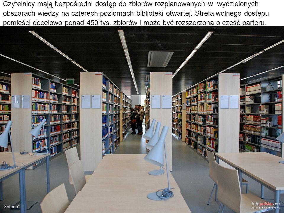 Czytelnicy mają bezpośredni dostęp do zbiorów rozplanowanych w wydzielonych obszarach wiedzy na czterech poziomach biblioteki otwartej. Strefa wolnego