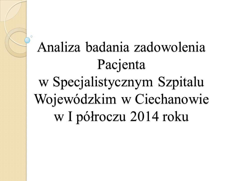 Analiza badania zadowolenia Pacjenta w Specjalistycznym Szpitalu Wojewódzkim w Ciechanowie w I półroczu 2014 roku