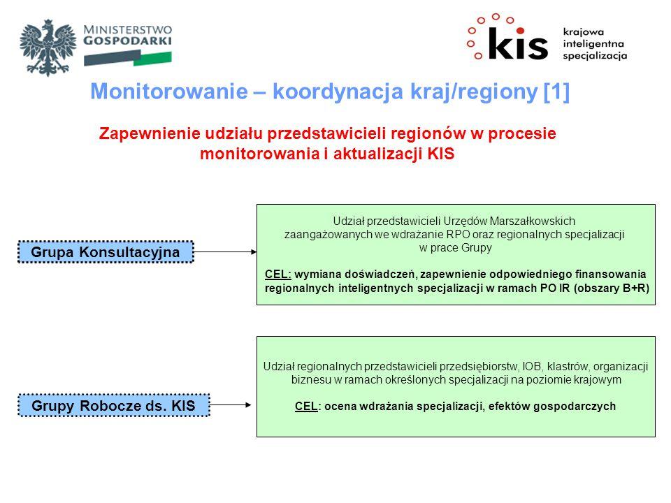 Grupa Konsultacyjna Grupy Robocze ds. KIS Monitorowanie – koordynacja kraj/regiony [1] Zapewnienie udziału przedstawicieli regionów w procesie monitor