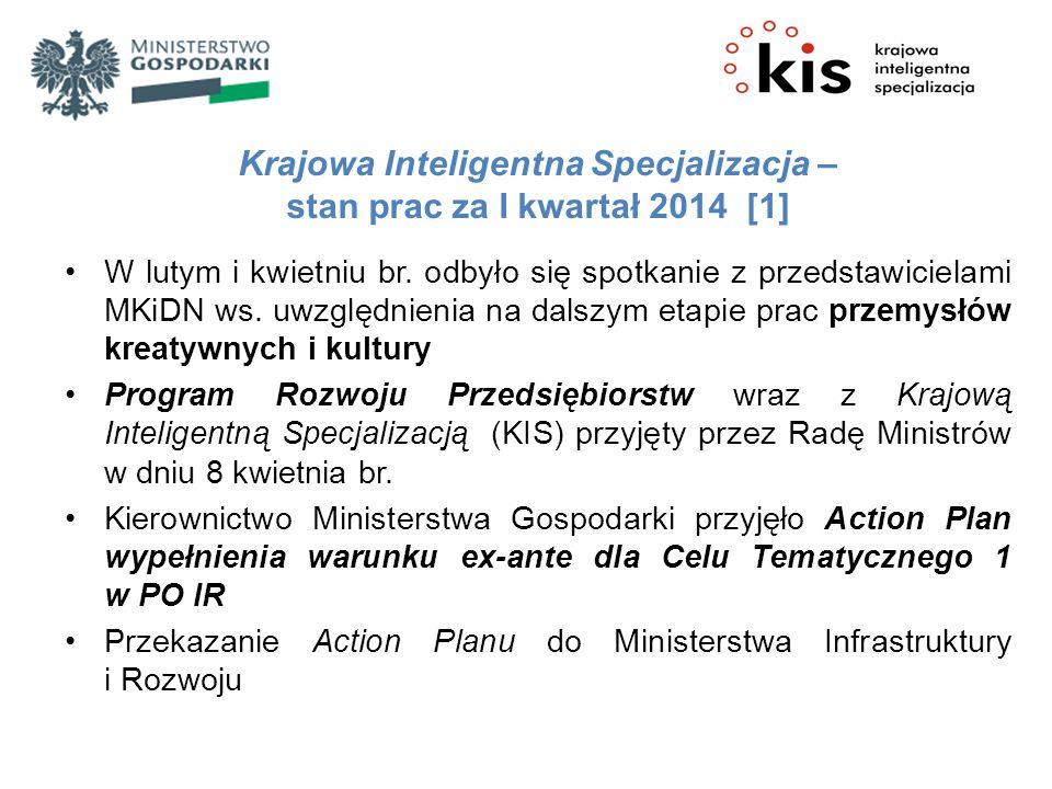Krajowa Inteligentna Specjalizacja – stan prac za I kwartał 2014 [1] W lutym i kwietniu br. odbyło się spotkanie z przedstawicielami MKiDN ws. uwzględ