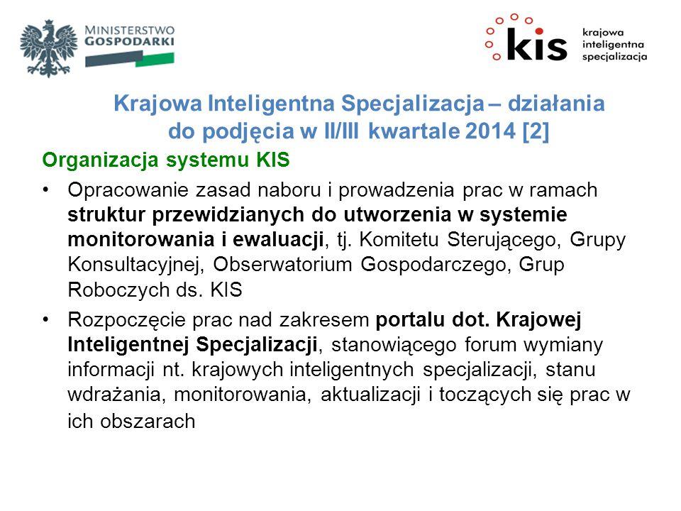 Krajowa Inteligentna Specjalizacja – działania do podjęcia w II/III kwartale 2014 [2] Organizacja systemu KIS Opracowanie zasad naboru i prowadzenia prac w ramach struktur przewidzianych do utworzenia w systemie monitorowania i ewaluacji, tj.