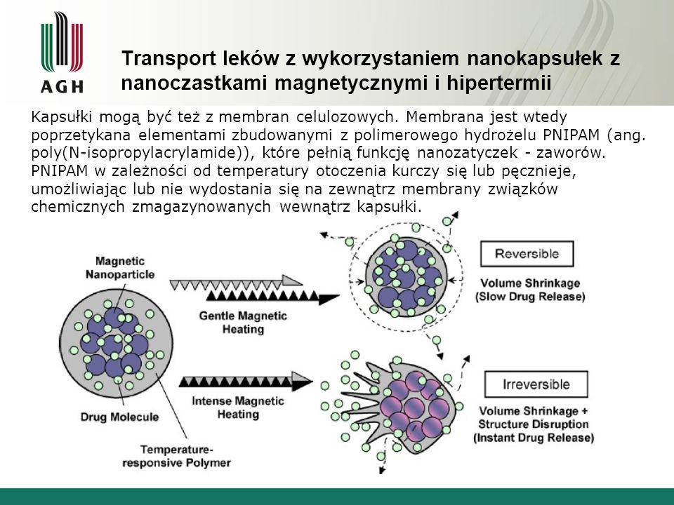 Transport leków z wykorzystaniem nanokapsułek z nanoczastkami magnetycznymi i hipertermii Kapsułki mogą być też z membran celulozowych.