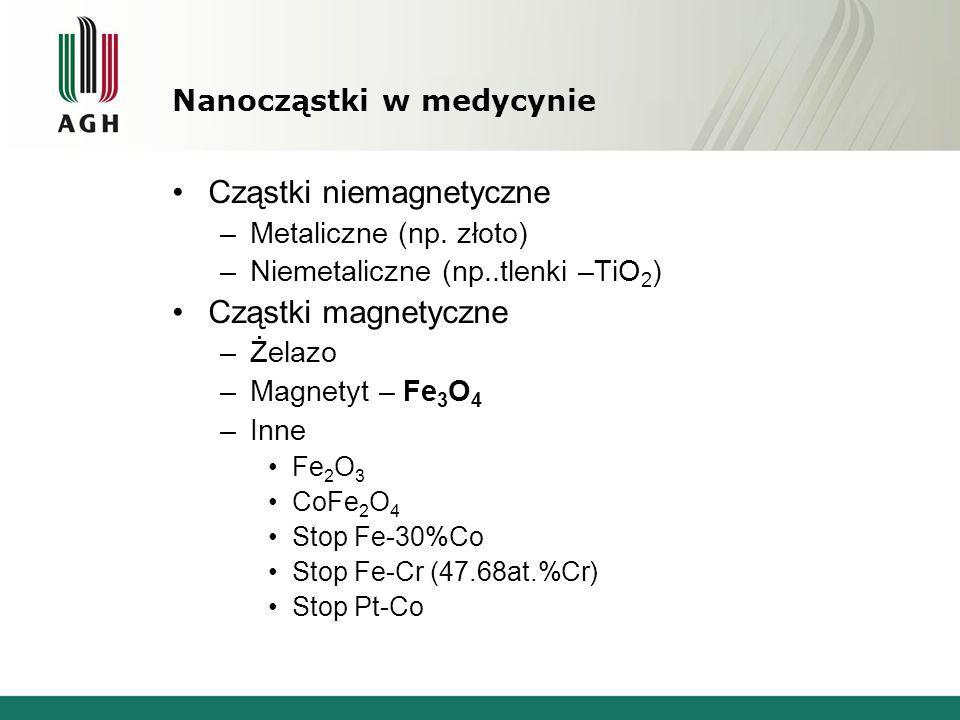 Nanocząstki w medycynie Cząstki niemagnetyczne –Metaliczne (np.