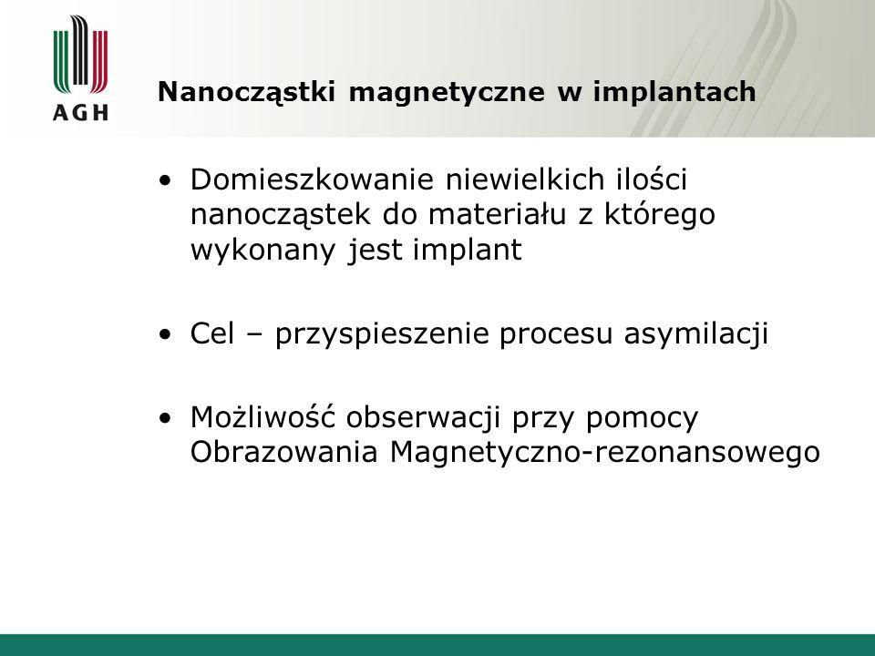 Nanocząstki magnetyczne w implantach Domieszkowanie niewielkich ilości nanocząstek do materiału z którego wykonany jest implant Cel – przyspieszenie procesu asymilacji Możliwość obserwacji przy pomocy Obrazowania Magnetyczno-rezonansowego