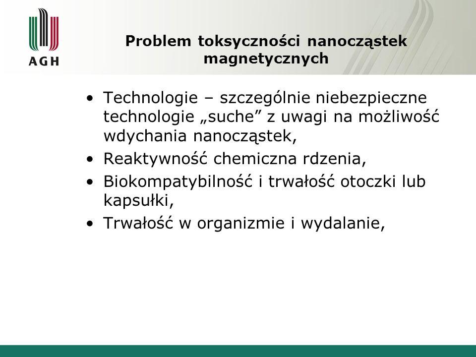 """Problem toksyczności nanocząstek magnetycznych Technologie – szczególnie niebezpieczne technologie """"suche z uwagi na możliwość wdychania nanocząstek, Reaktywność chemiczna rdzenia, Biokompatybilność i trwałość otoczki lub kapsułki, Trwałość w organizmie i wydalanie,"""