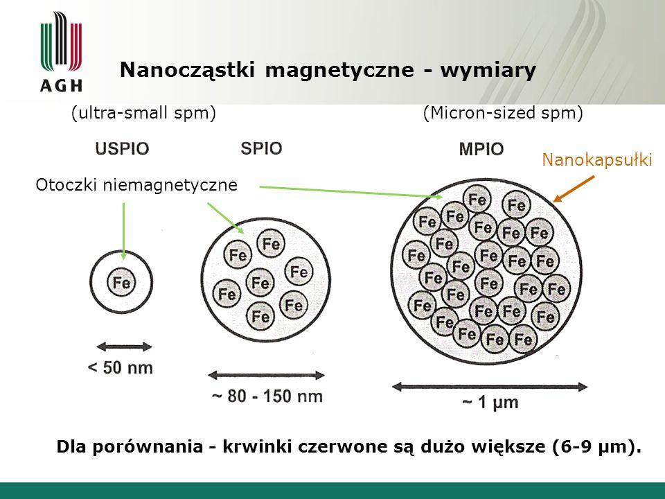 Nanocząstki magnetyczne - wymiary Dla porównania - krwinki czerwone są dużo większe (6-9 μm).