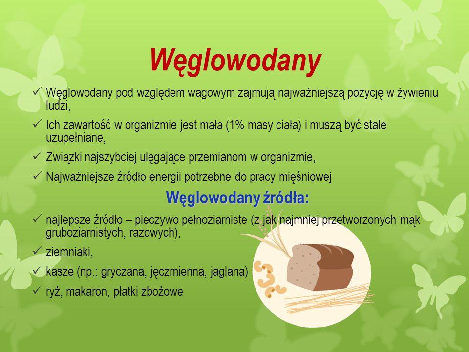 Węglowodany Węglowodany pod względem wagowym zajmują najważniejszą pozycję w żywieniu ludzi, Ich zawartość w organizmie jest mała (1% masy ciała) i mu