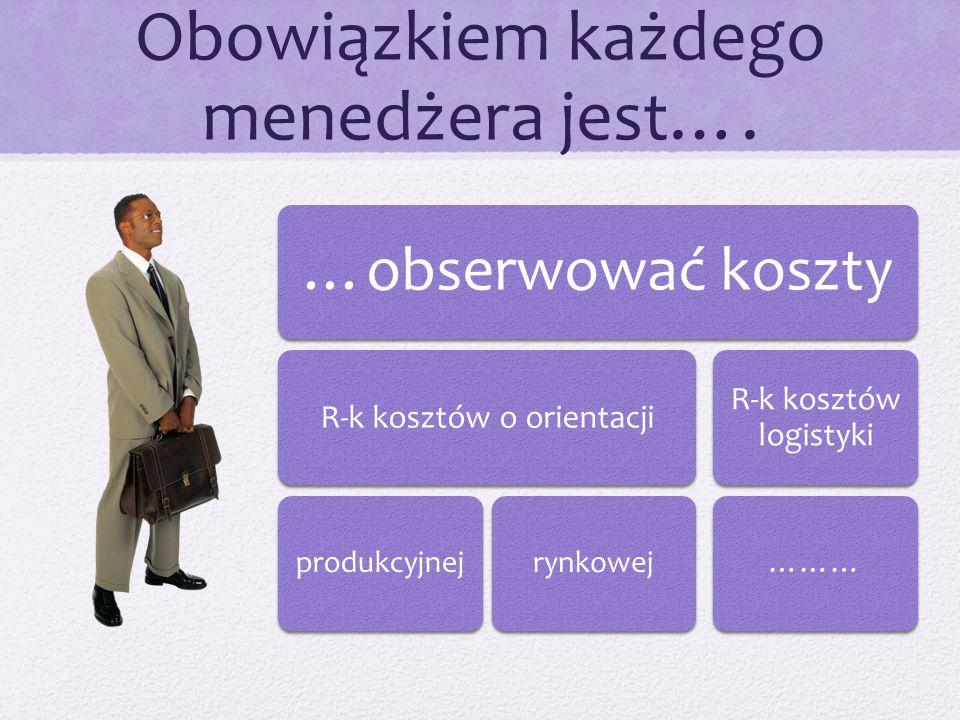 Obowiązkiem każdego menedżera jest…. …obserwować koszty R-k kosztów o orientacji produkcyjnejrynkowej R-k kosztów logistyki ………