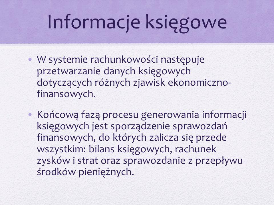 Informacje księgowe W systemie rachunkowości następuje przetwarzanie danych księgowych dotyczących różnych zjawisk ekonomiczno- finansowych. Końcową f