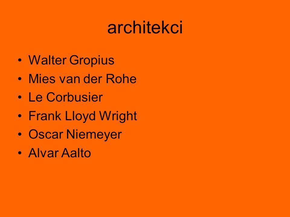 F.L.Wright Dostosowanie do warunków geograficznych Uwzględnienie miejscowych tradycji w architekturze Wykorzystanie możliwości i naturalnego piękna użytych materiałów Uwzględnienie indywidualnych potrzeb i upodobań mieszkańców Odrzucenie kanonów i reguł Lekkie przesuwane ścianki wewnętrzne dające możliwość swobodnego kształtowania przestrzeni