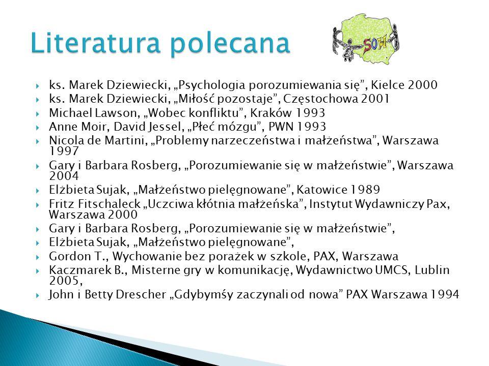""" ks. Marek Dziewiecki, """"Psychologia porozumiewania się"""", Kielce 2000  ks. Marek Dziewiecki, """"Miłość pozostaje"""", Częstochowa 2001  Michael Lawson, """""""