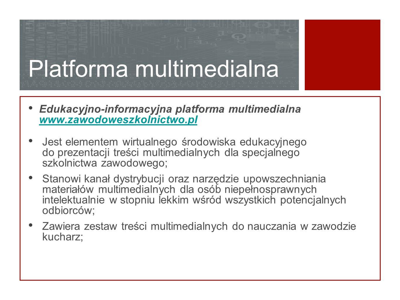 Platforma multimedialna Edukacyjno-informacyjna platforma multimedialna www.zawodoweszkolnictwo.pl www.zawodoweszkolnictwo.pl Jest elementem wirtualne