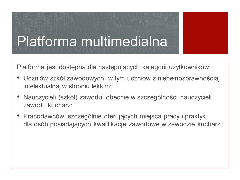 Platforma multimedialna Platforma jest dostępna dla następujących kategorii użytkowników: Uczniów szkół zawodowych, w tym uczniów z niepełnosprawności