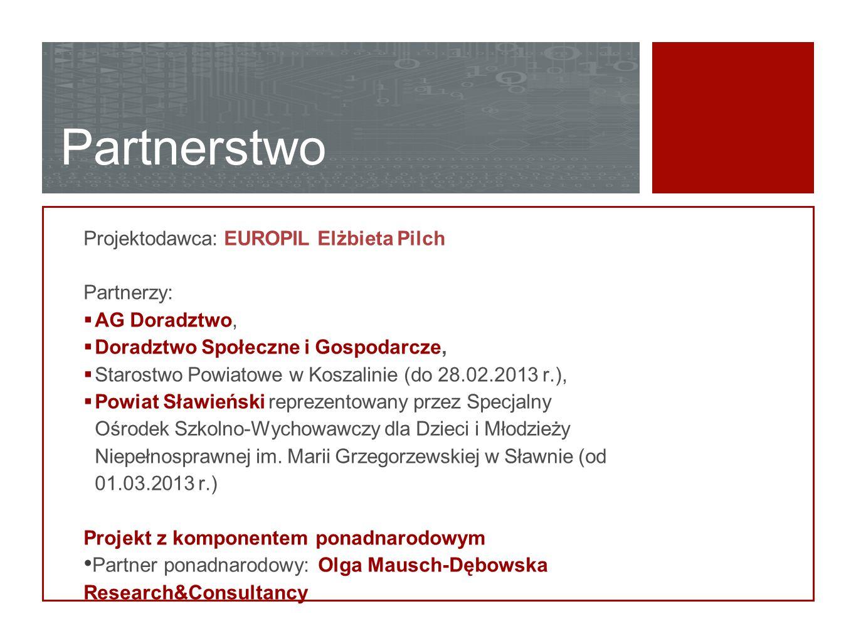 Partnerstwo Projektodawca: EUROPIL Elżbieta Pilch Partnerzy:  AG Doradztwo,  Doradztwo Społeczne i Gospodarcze,  Starostwo Powiatowe w Koszalinie (