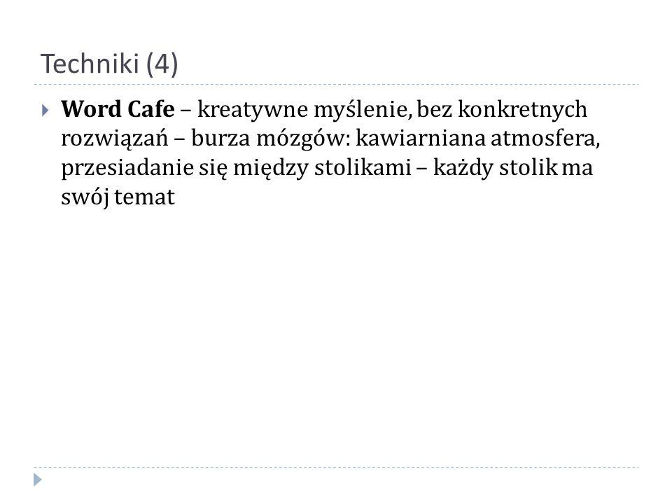 Techniki (4)  Word Cafe – kreatywne myślenie, bez konkretnych rozwiązań – burza mózgów: kawiarniana atmosfera, przesiadanie się między stolikami – ka