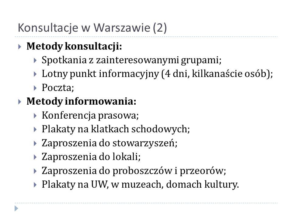 Konsultacje w Warszawie (2)  Metody konsultacji:  Spotkania z zainteresowanymi grupami;  Lotny punkt informacyjny (4 dni, kilkanaście osób);  Pocz