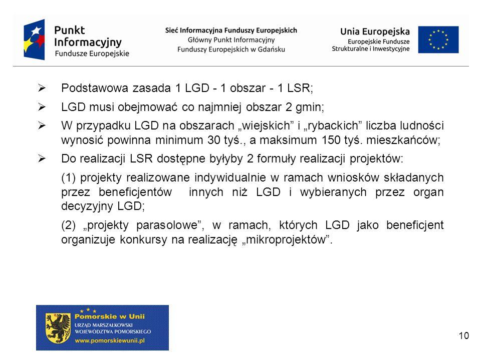 """10  Podstawowa zasada 1 LGD - 1 obszar - 1 LSR;  LGD musi obejmować co najmniej obszar 2 gmin;  W przypadku LGD na obszarach """"wiejskich"""" i """"rybacki"""