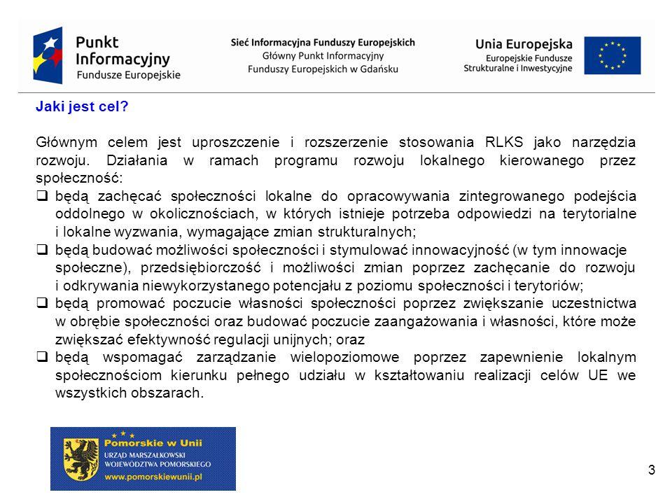"""4 Rozwój Lokalny Kierowany przez Społeczność (RLKS) nowy instrument terytorialny prowadzony przez KE do realizacji w perspektywie finansowej na lata 2014-2020; Instrument ten bazuje na podejściu LEADER stosowanej w perspektywie finansowej 2007-2013 w ramach: - II filara wspólnej polityki rolnej jako """"podejście LEADER , czyli obowiązkowa oś 4 Leader PROW współfinansowanych z EFRROW oraz - wspólnej polityki rybołówstwa jako """"zrównoważony rozwój obszarów zależnych głównie od rybactwa , w ramach osi priorytetowej 4 programów operacyjnych współfinansowanych ze środków Europejskiego Funduszu Rybackiego."""
