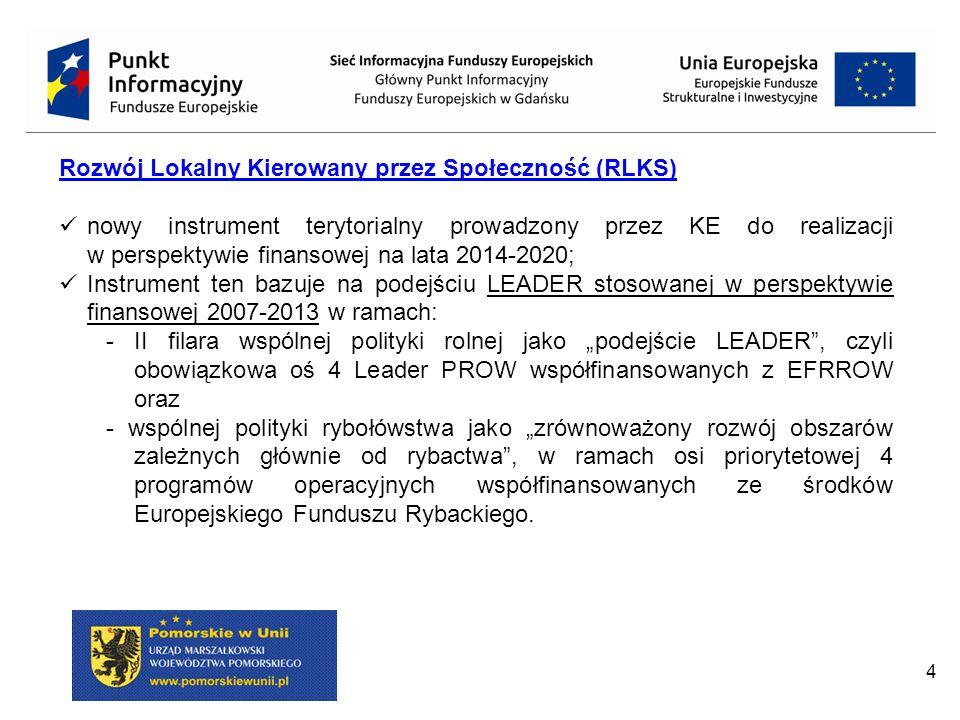 4 Rozwój Lokalny Kierowany przez Społeczność (RLKS) nowy instrument terytorialny prowadzony przez KE do realizacji w perspektywie finansowej na lata 2