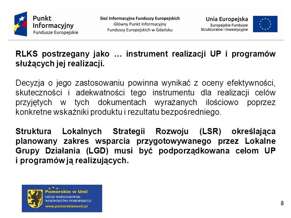 9 RLKS wspierane z funduszy strukturalnych tylko w RPO, ale nieobligatoryjnie;  Dopuszczamy realizację wielofunduszowych LSR, przy czym: EFFROW na obszarach wiejskich lub miejskich z wyłączeniem miast powyżej 20 tys.