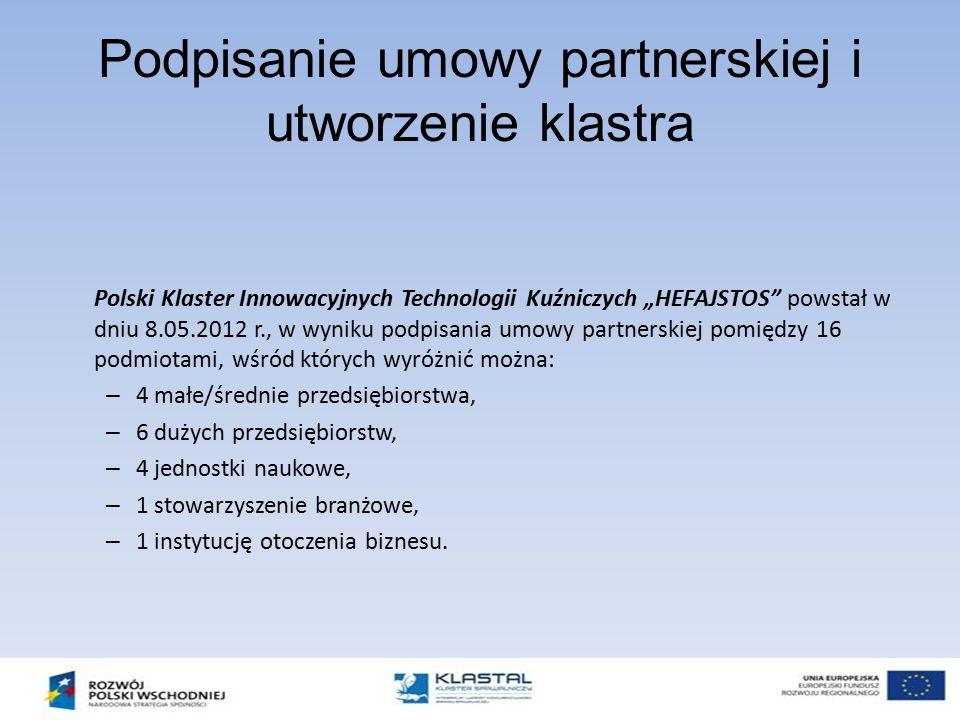 """Podpisanie umowy partnerskiej i utworzenie klastra Polski Klaster Innowacyjnych Technologii Kuźniczych """"HEFAJSTOS"""" powstał w dniu 8.05.2012 r., w wyni"""