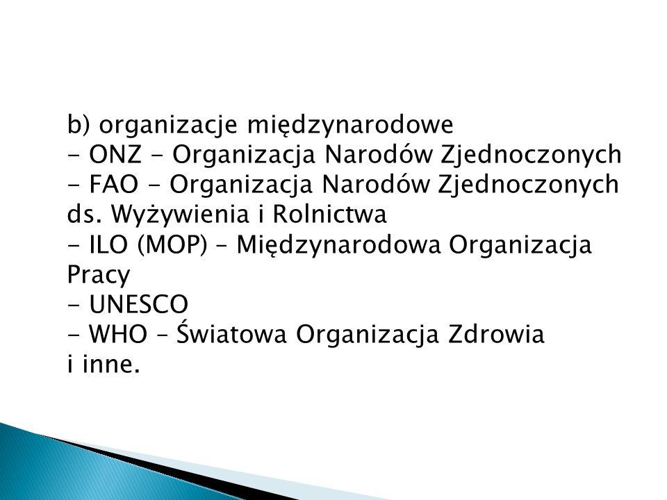 b) organizacje międzynarodowe - ONZ - Organizacja Narodów Zjednoczonych - FAO - Organizacja Narodów Zjednoczonych ds.