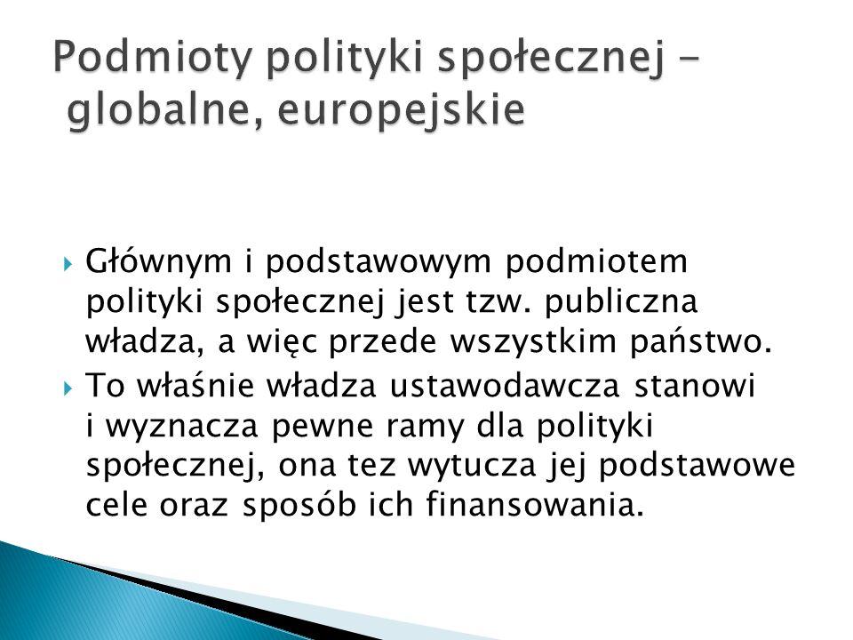  Głównym i podstawowym podmiotem polityki społecznej jest tzw.
