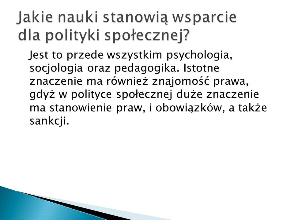 Jest to przede wszystkim psychologia, socjologia oraz pedagogika.