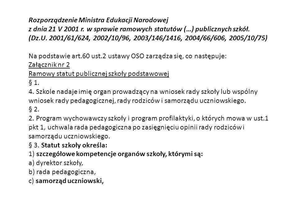 Rozporządzenie Ministra Edukacji Narodowej z dnia 21 V 2001 r.