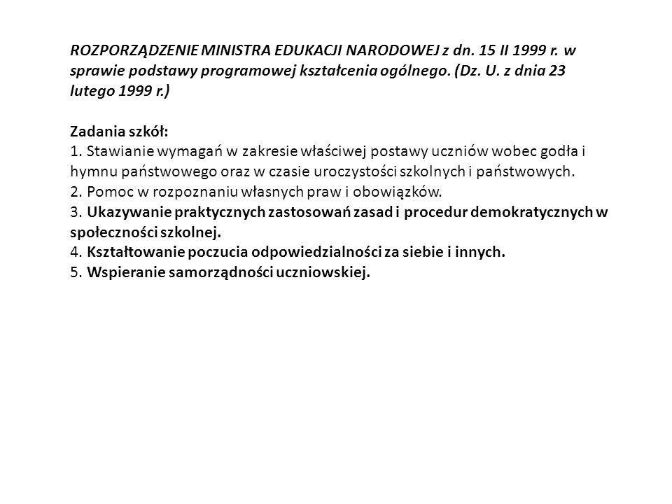 ROZPORZĄDZENIE MINISTRA EDUKACJI NARODOWEJ z dn. 15 II 1999 r.
