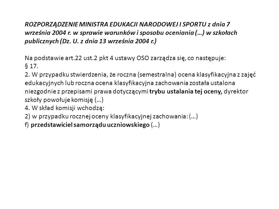 ROZPORZĄDZENIE MINISTRA EDUKACJI NARODOWEJ I SPORTU z dnia 7 września 2004 r.