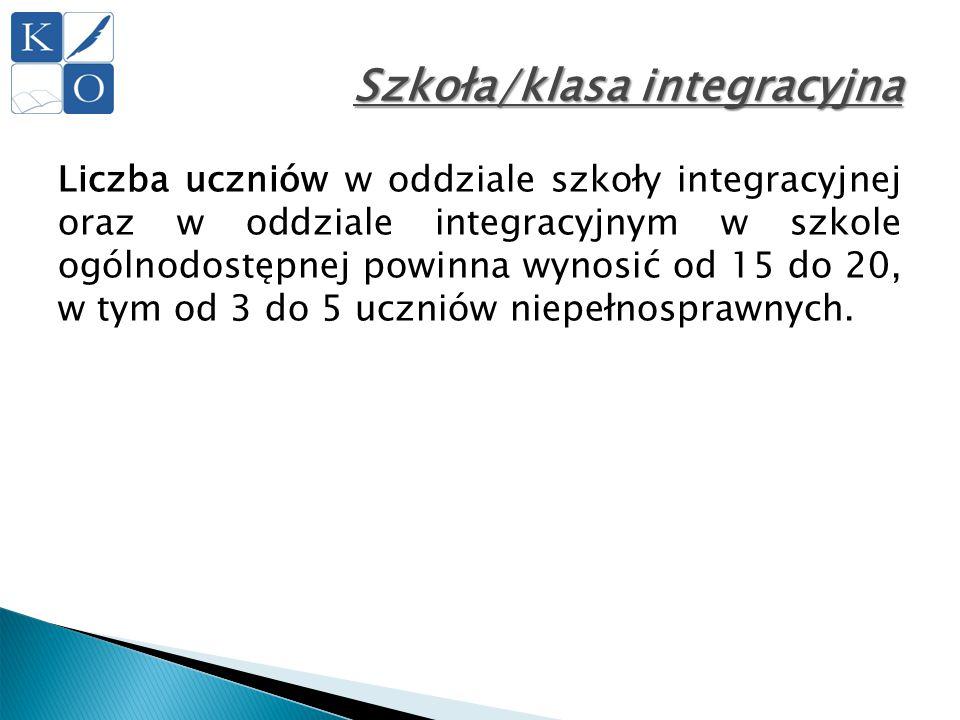 Szkoła/klasa integracyjna Liczba uczniów w oddziale szkoły integracyjnej oraz w oddziale integracyjnym w szkole ogólnodostępnej powinna wynosić od 15