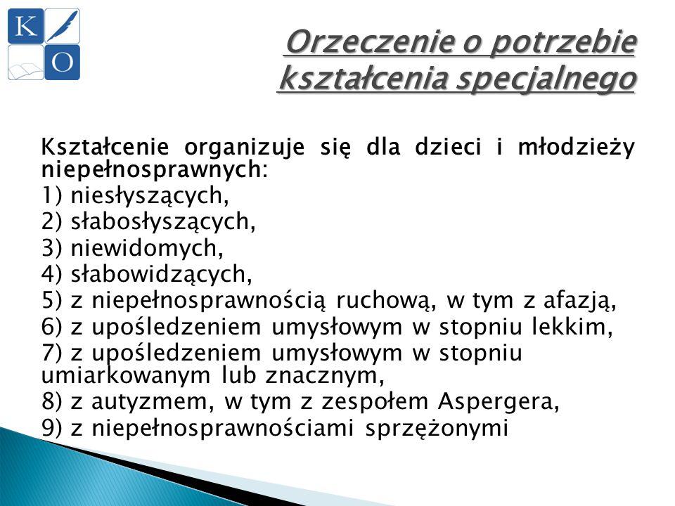 Orzeczenie o potrzebie kształcenia specjalnego Kształcenie organizuje się dla dzieci i młodzieży niepełnosprawnych: 1) niesłyszących, 2) słabosłyszący