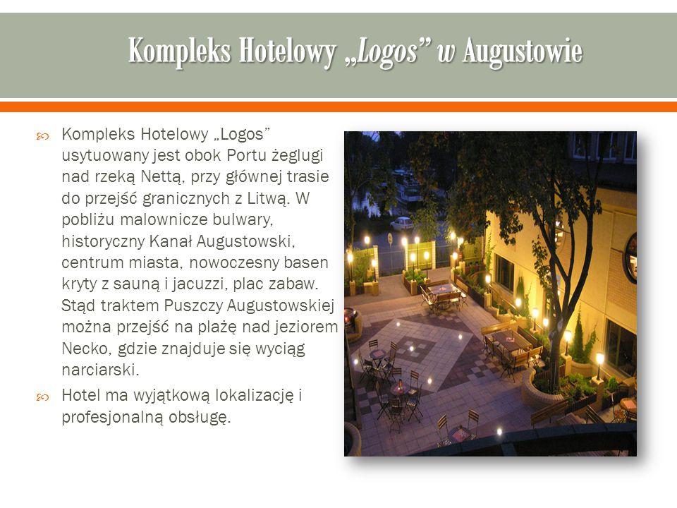 """ Kompleks Hotelowy """"Logos usytuowany jest obok Portu żeglugi nad rzeką Nettą, przy głównej trasie do przejść granicznych z Litwą."""