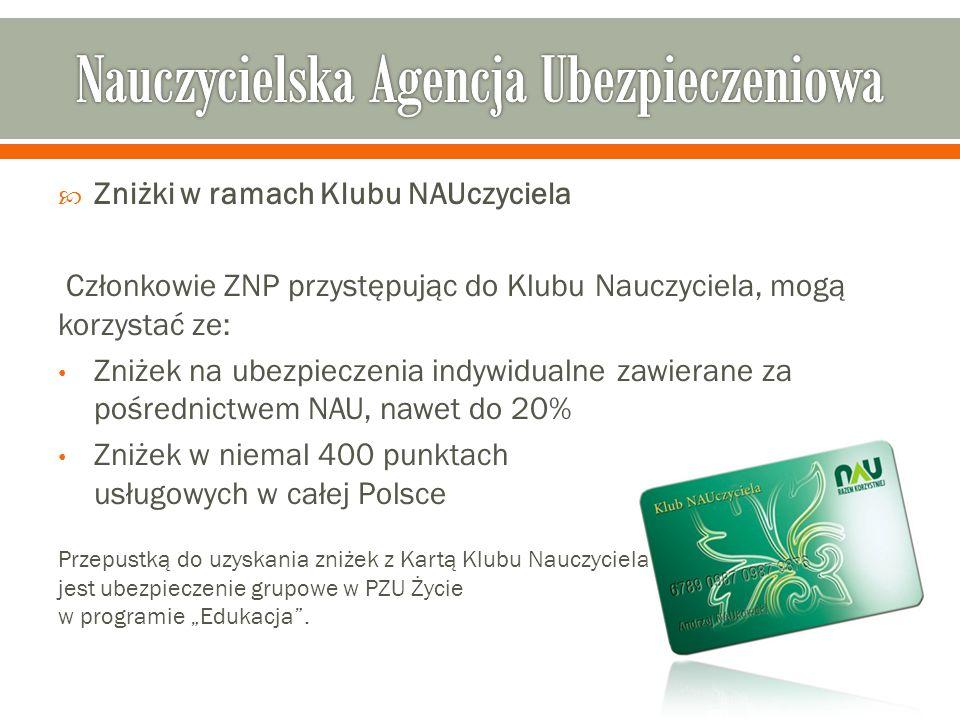 """ Zniżki w ramach Klubu NAUczyciela Członkowie ZNP przystępując do Klubu Nauczyciela, mogą korzystać ze: Zniżek na ubezpieczenia indywidualne zawierane za pośrednictwem NAU, nawet do 20% Zniżek w niemal 400 punktach usługowych w całej Polsce Przepustką do uzyskania zniżek z Kartą Klubu Nauczyciela jest ubezpieczenie grupowe w PZU Życie w programie """"Edukacja ."""