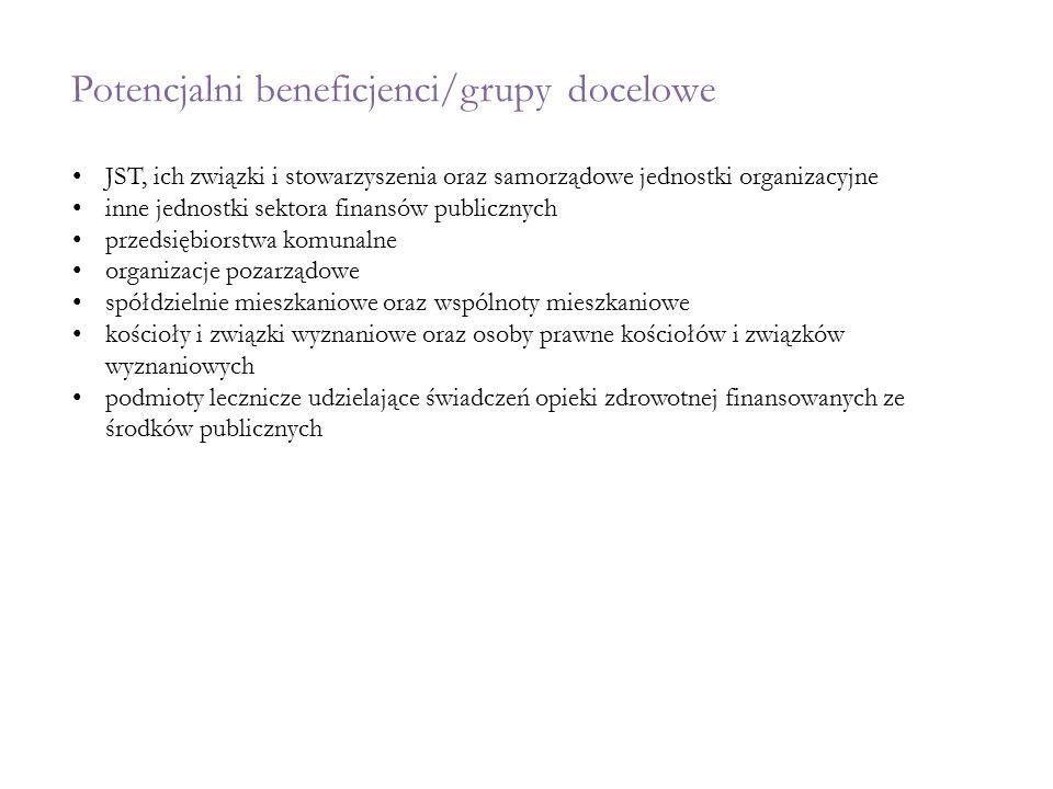 Potencjalni beneficjenci/grupy docelowe JST, ich związki i stowarzyszenia oraz samorządowe jednostki organizacyjne inne jednostki sektora finansów pub
