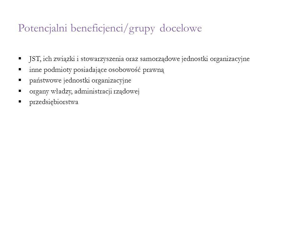 Potencjalni beneficjenci/grupy docelowe  JST, ich związki i stowarzyszenia oraz samorządowe jednostki organizacyjne  inne podmioty posiadające osobo