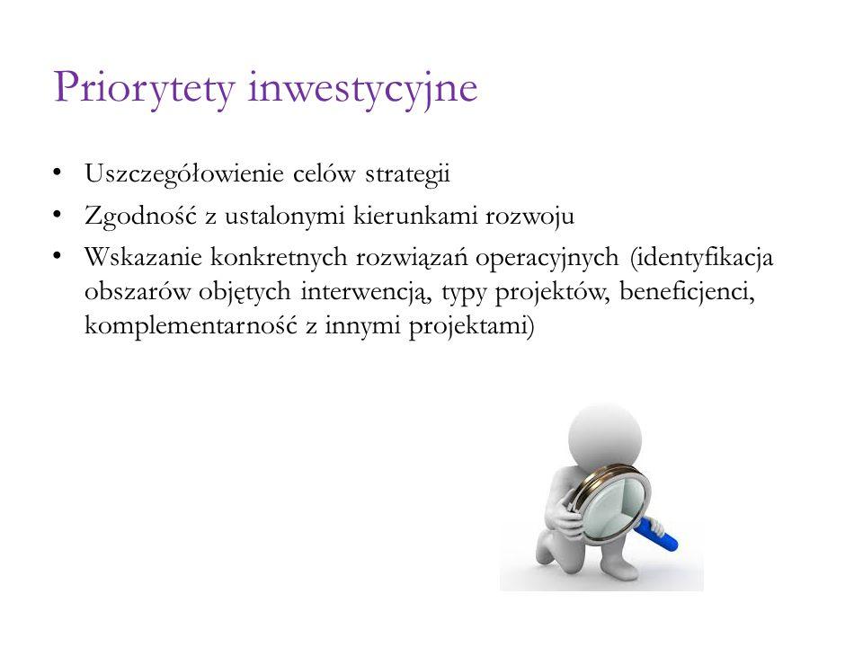 Priorytety inwestycyjne Uszczegółowienie celów strategii Zgodność z ustalonymi kierunkami rozwoju Wskazanie konkretnych rozwiązań operacyjnych (identyfikacja obszarów objętych interwencją, typy projektów, beneficjenci, komplementarność z innymi projektami)