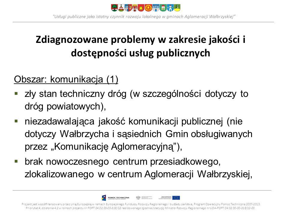 """Usługi publiczne jako istotny czynnik rozwoju lokalnego w gminach Aglomeracji Wałbrzyskiej Zdiagnozowane problemy w zakresie jakości i dostępności usług publicznych Obszar: komunikacja (1)  zły stan techniczny dróg (w szczególności dotyczy to dróg powiatowych),  niezadawalająca jakość komunikacji publicznej (nie dotyczy Wałbrzycha i sąsiednich Gmin obsługiwanych przez """"Komunikację Aglomeracyjną ),  brak nowoczesnego centrum przesiadkowego, zlokalizowanego w centrum Aglomeracji Wałbrzyskiej, Projekt jest współfinansowany przez Unię Europejską w ramach Europejskiego Funduszu Rozwoju Regionalnego i budżetu państwa, Program Operacyjny Pomoc Techniczna 2007-2013 Priorytet 4, działanie 4.2 w ramach projektu nr POPT.04.02.00-00-318/12 realizowanego zgodnie z decyzją Ministra Rozwoju Regionalnego nr UDA-POPT.04.02.00-00-318/12-00."""