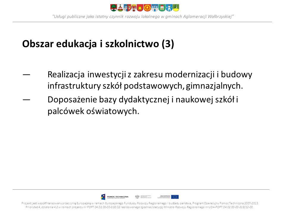 Usługi publiczne jako istotny czynnik rozwoju lokalnego w gminach Aglomeracji Wałbrzyskiej Obszar edukacja i szkolnictwo (3) —Realizacja inwestycji z zakresu modernizacji i budowy infrastruktury szkół podstawowych, gimnazjalnych.