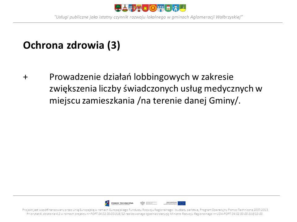 Usługi publiczne jako istotny czynnik rozwoju lokalnego w gminach Aglomeracji Wałbrzyskiej Ochrona zdrowia (3) +Prowadzenie działań lobbingowych w zakresie zwiększenia liczby świadczonych usług medycznych w miejscu zamieszkania /na terenie danej Gminy/.