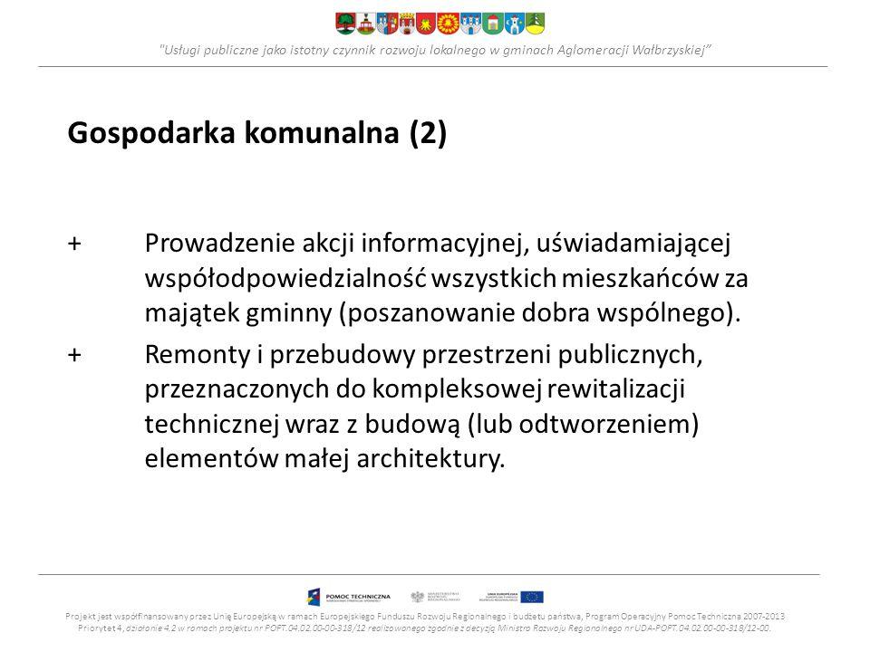 Usługi publiczne jako istotny czynnik rozwoju lokalnego w gminach Aglomeracji Wałbrzyskiej Gospodarka komunalna (2) +Prowadzenie akcji informacyjnej, uświadamiającej współodpowiedzialność wszystkich mieszkańców za majątek gminny (poszanowanie dobra wspólnego).