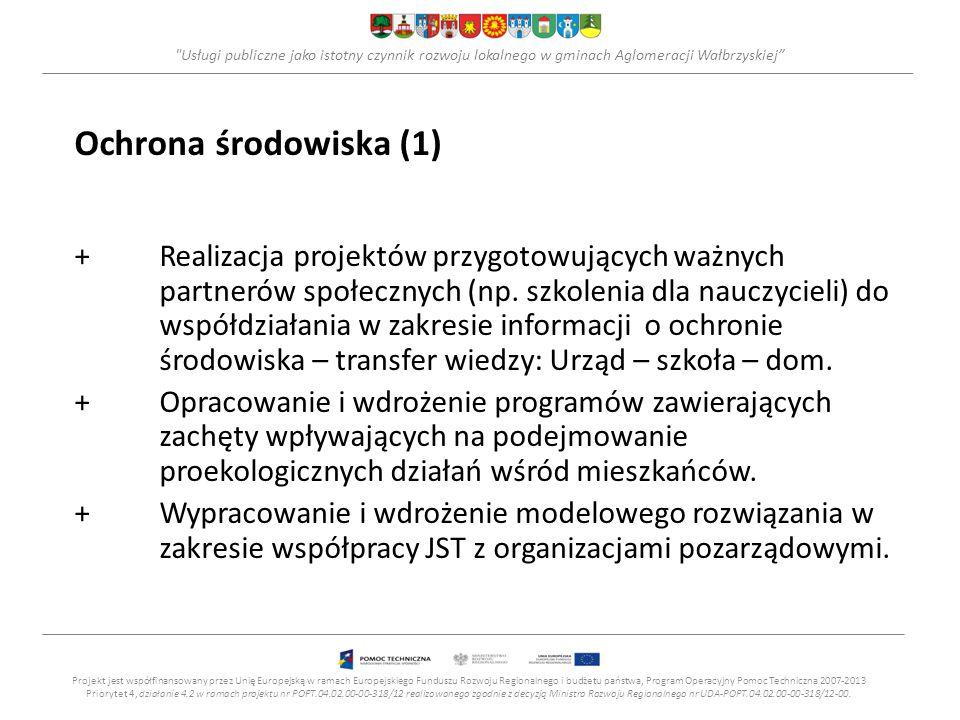 Usługi publiczne jako istotny czynnik rozwoju lokalnego w gminach Aglomeracji Wałbrzyskiej Ochrona środowiska (1) +Realizacja projektów przygotowujących ważnych partnerów społecznych (np.