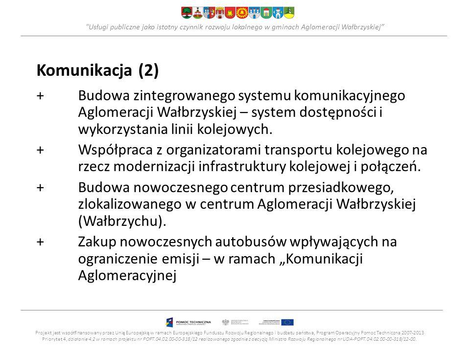 Usługi publiczne jako istotny czynnik rozwoju lokalnego w gminach Aglomeracji Wałbrzyskiej Komunikacja (2) +Budowa zintegrowanego systemu komunikacyjnego Aglomeracji Wałbrzyskiej – system dostępności i wykorzystania linii kolejowych.